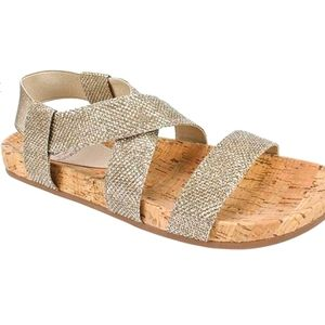 White Mountain Gold Glitter Sparkle Sandals